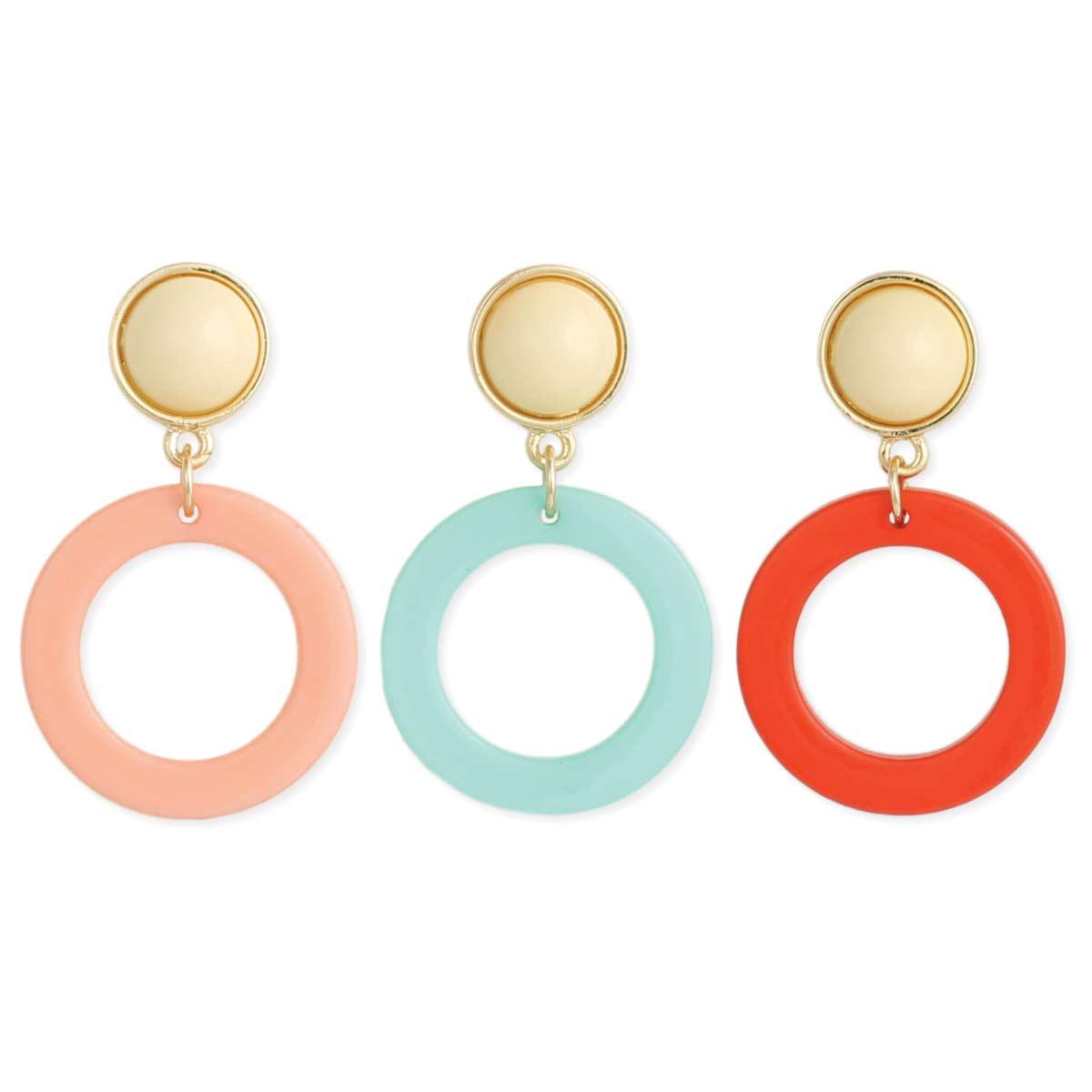 Round Resin Post Dangle Earrings