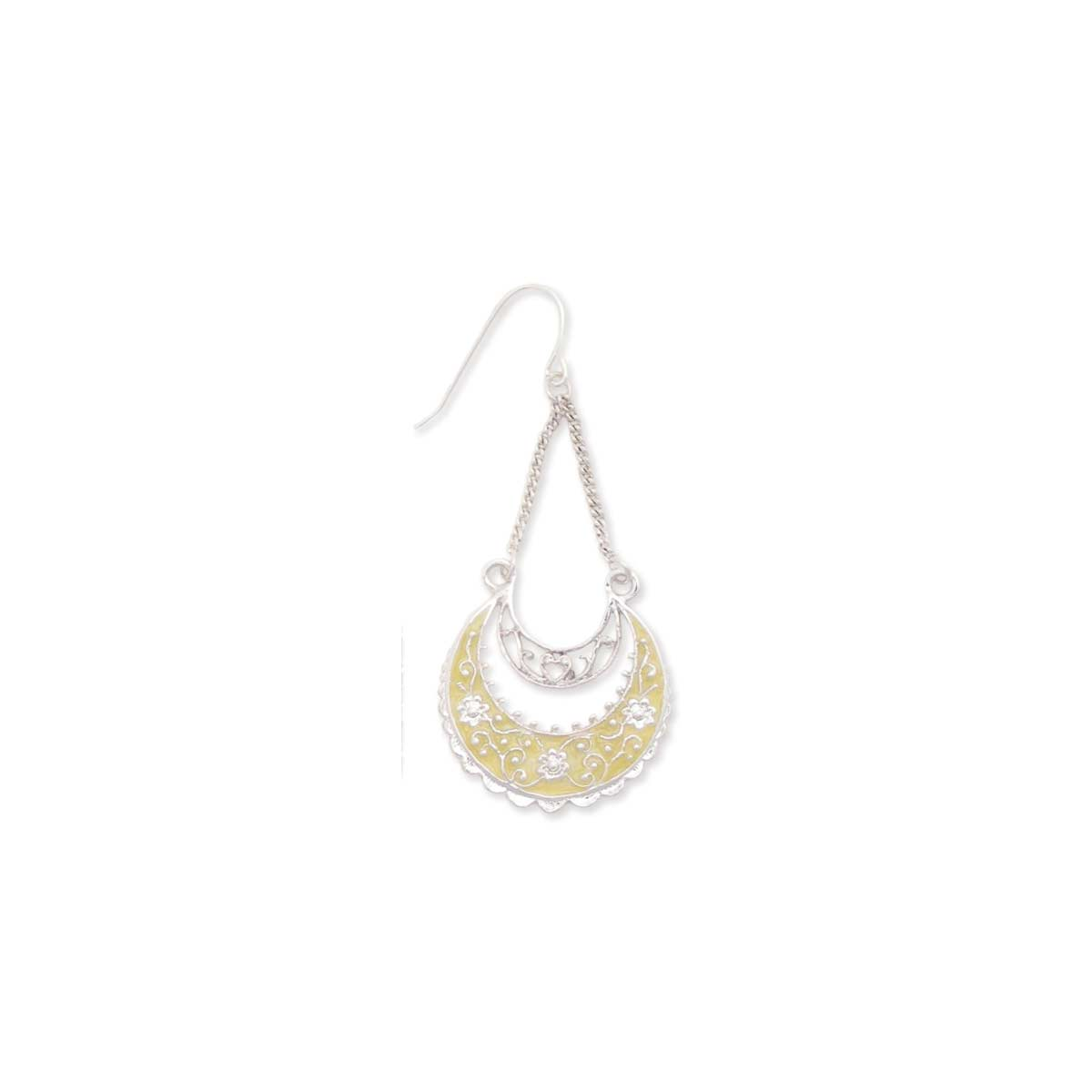 Silver & Yellow Crescent Chain Earring