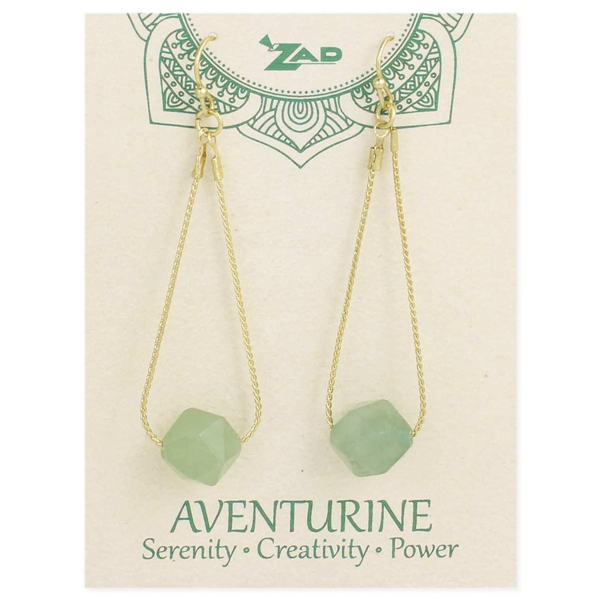 Carded Aventurine & Gold Stone Earring