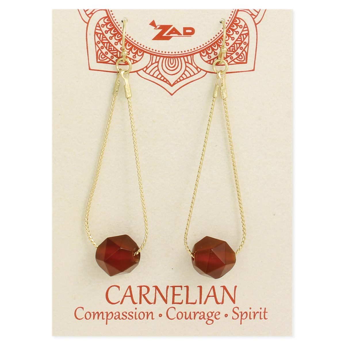 Carded Carnelian & Gold Earring