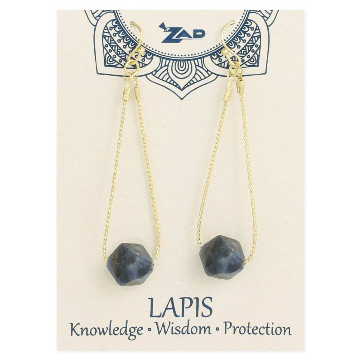 Carded Lapis Stone & Gold Earring