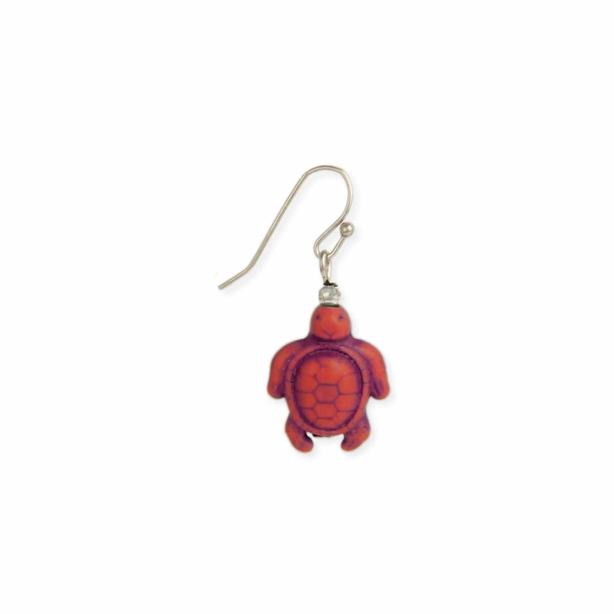 Red Stone Turtle Dangle Earring