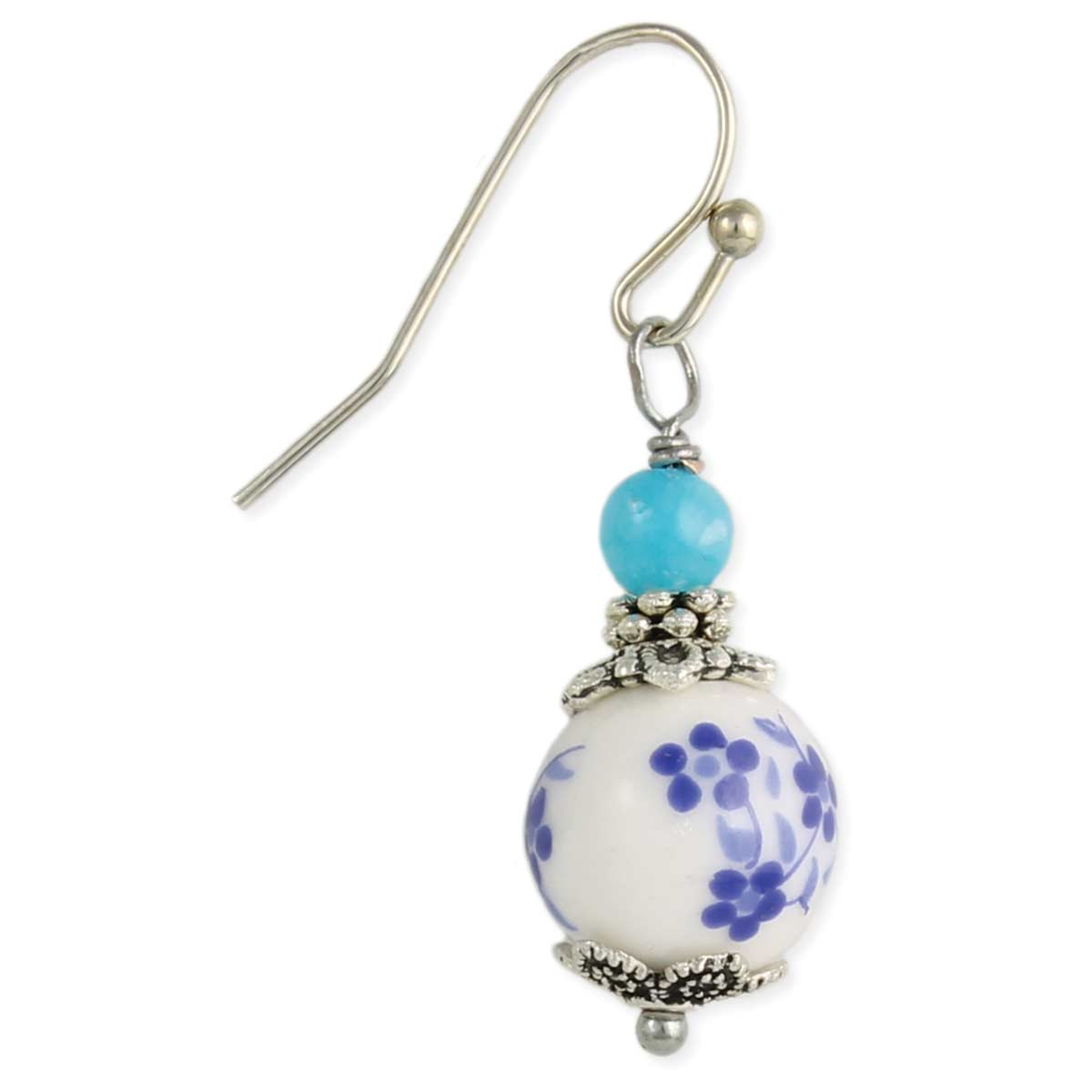Blue Flower Porcelain Earring