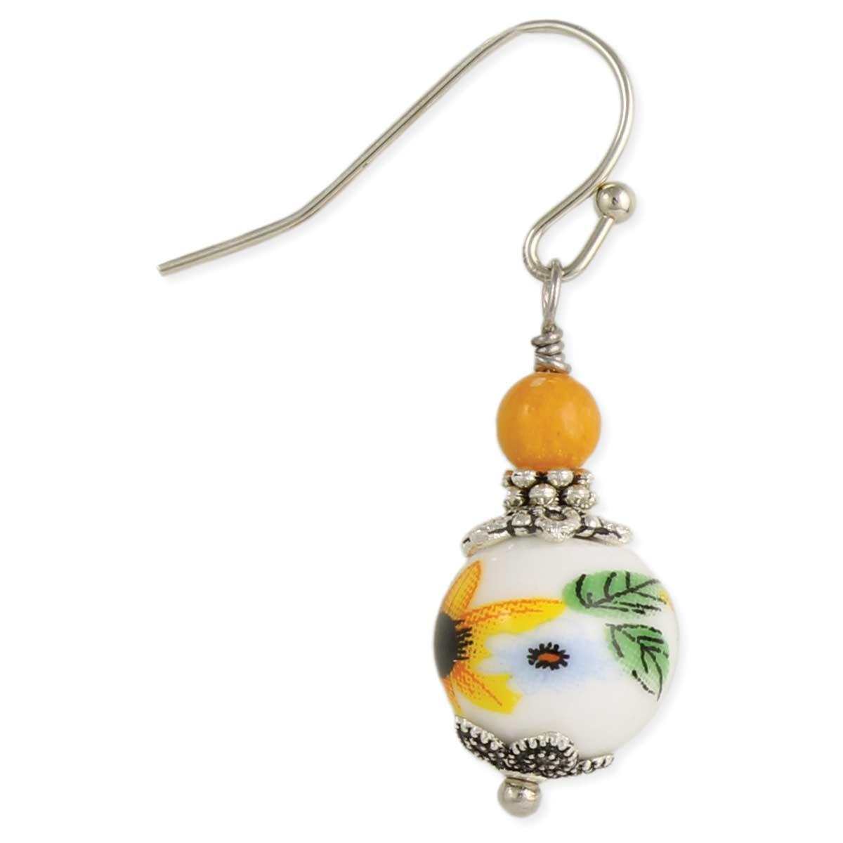 Yellow Flower Porcelain Earring