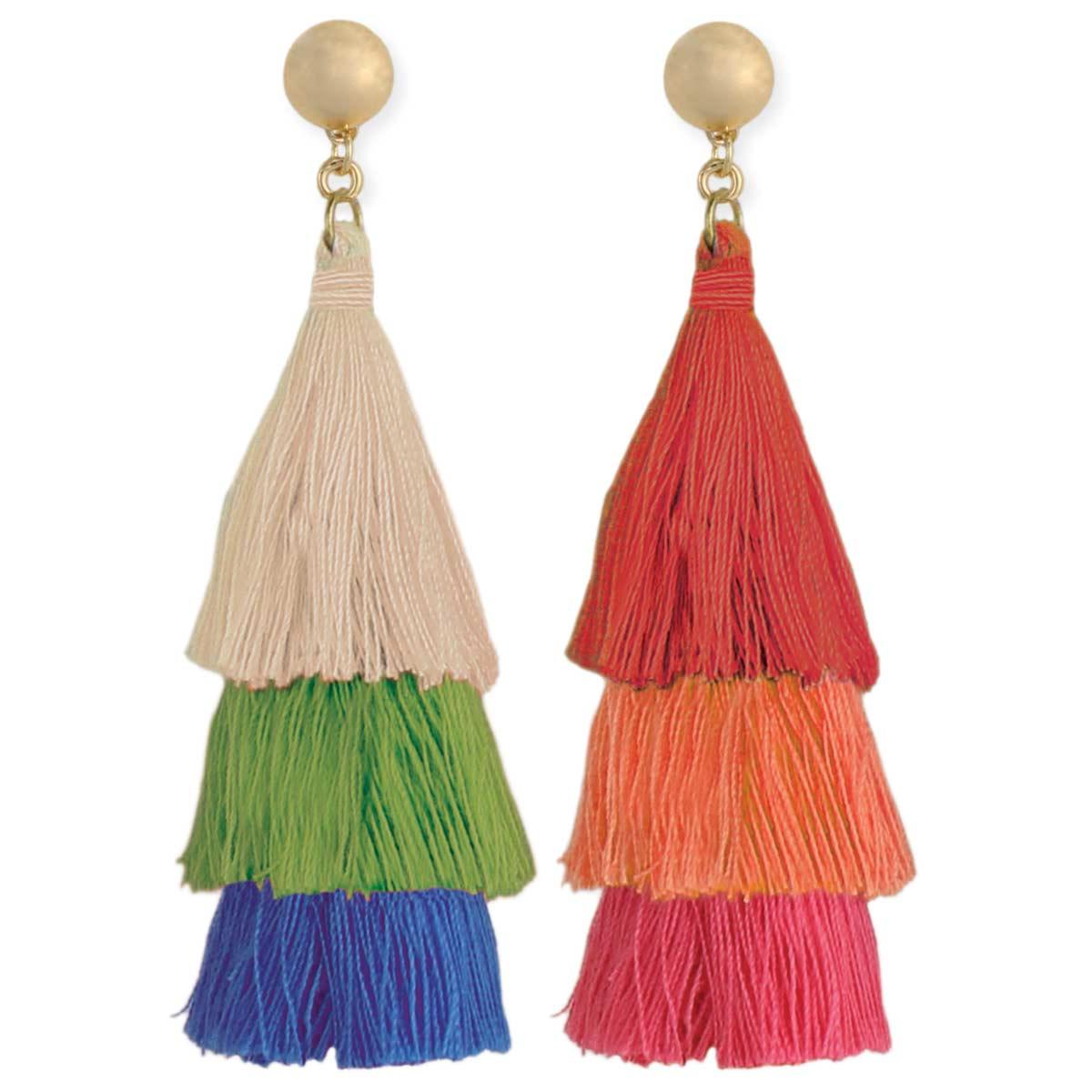 3-Tier Tassel Earrings