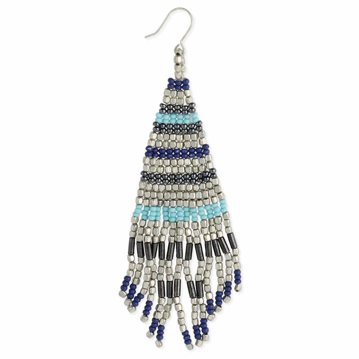 Blue & Silver Bead Fringe Earring