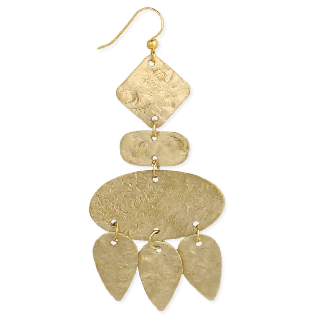 Textured Geometric Gold Earring View Detailed Images 2