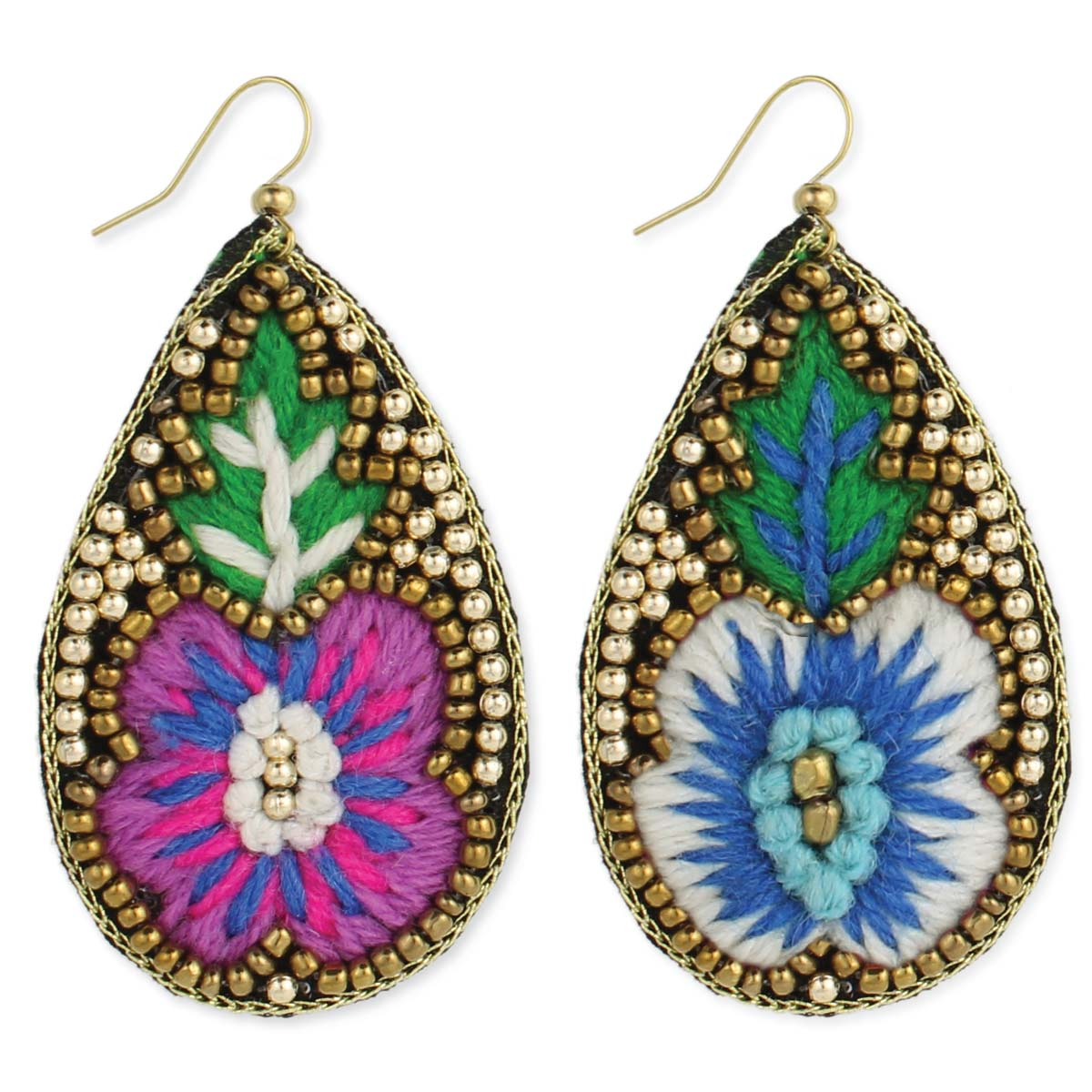Yarn Embroidered Flower Teardrop Earring