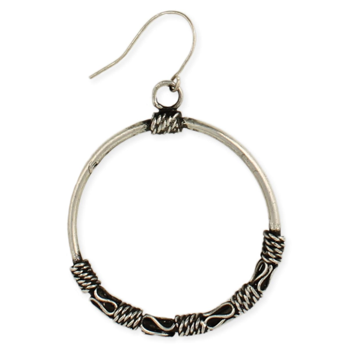 Silver Ethnic Round Dangle Earring