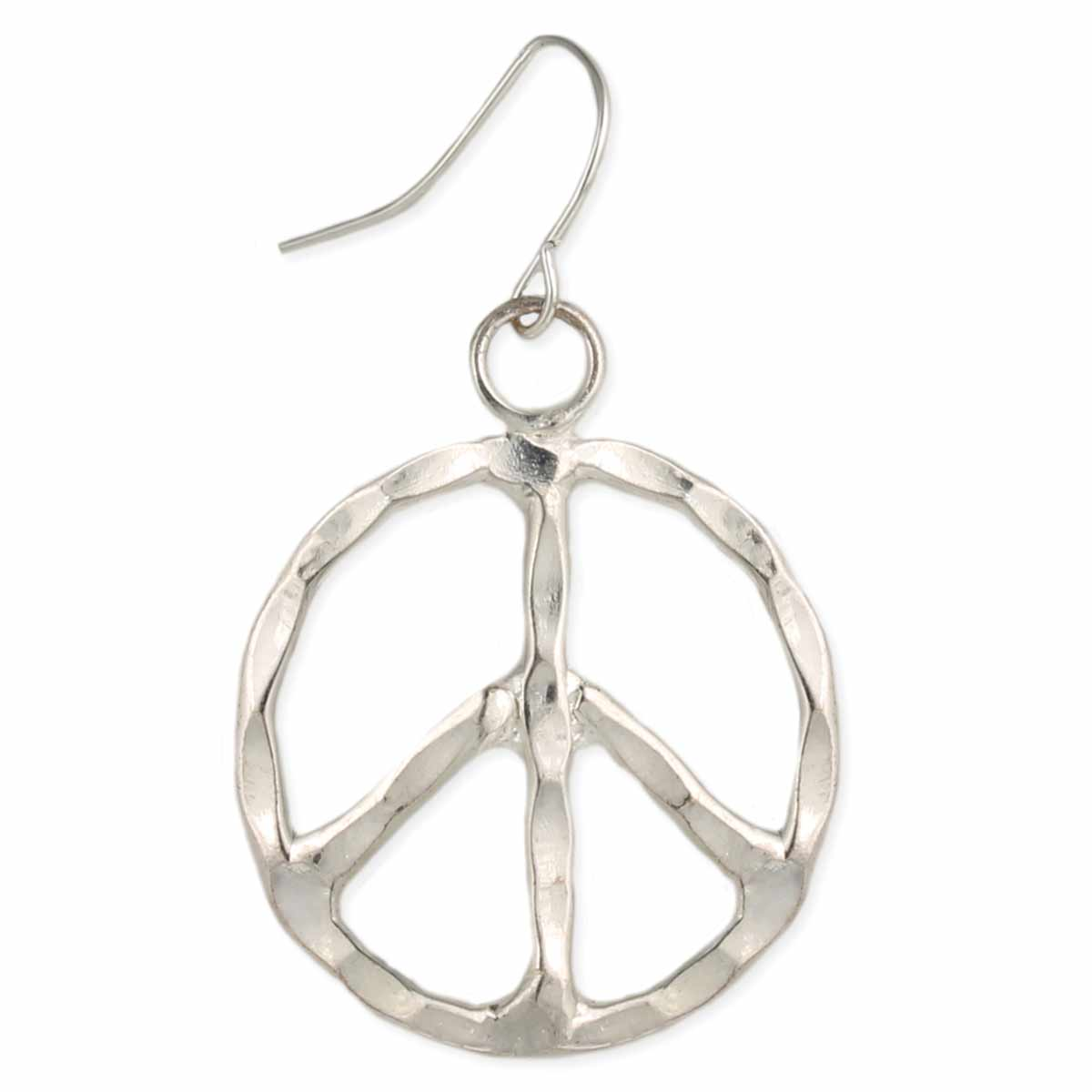 Silver Hammered Peace Earrings