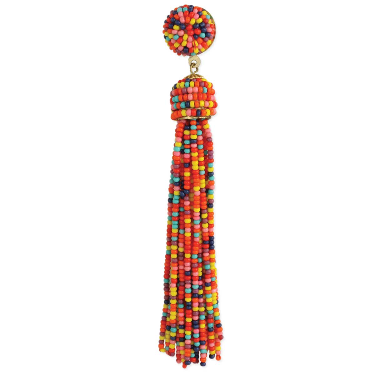 Tropical Multi Color Beaded Tassel Button Post Earring