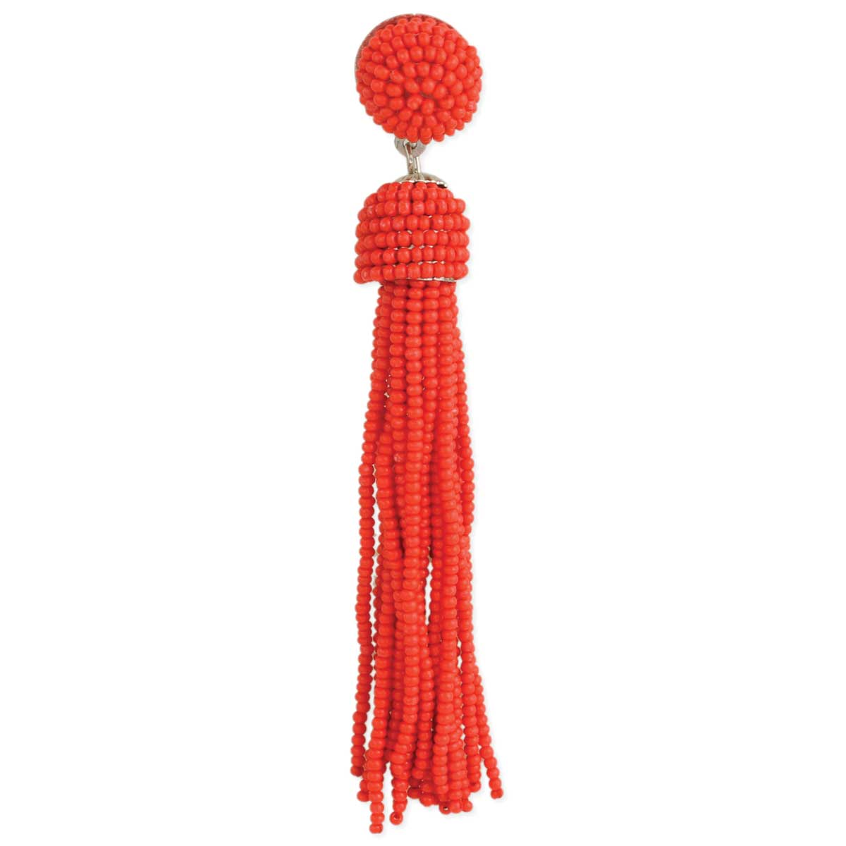 Coral Red Beaded Tassel Button Post Earrings
