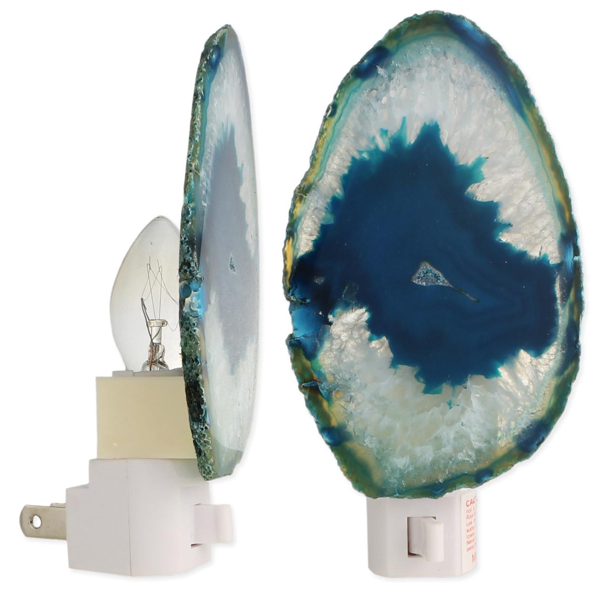 Large Stone Slice Blue Agate Night Light