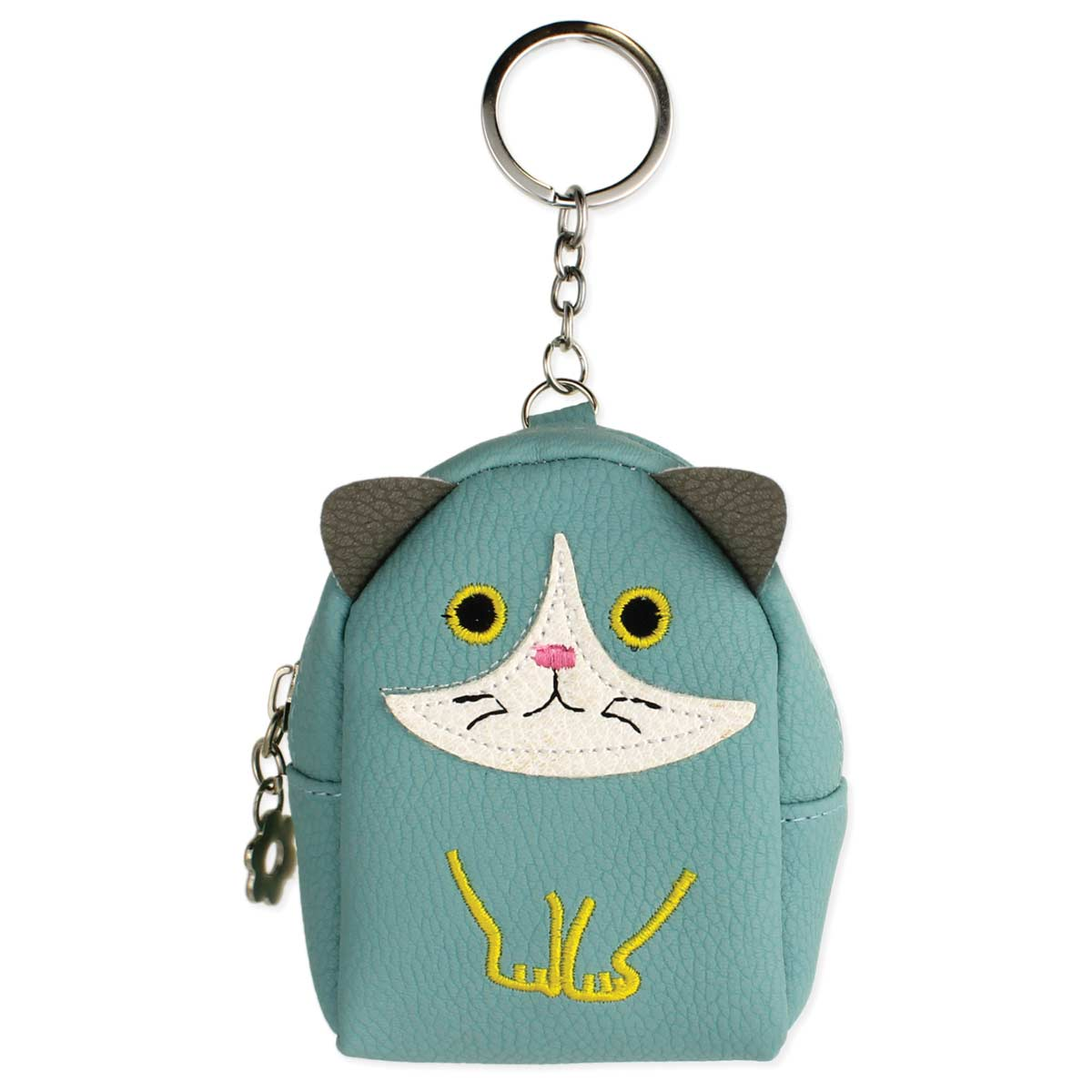 Light Blue Cat Backpack Keychain