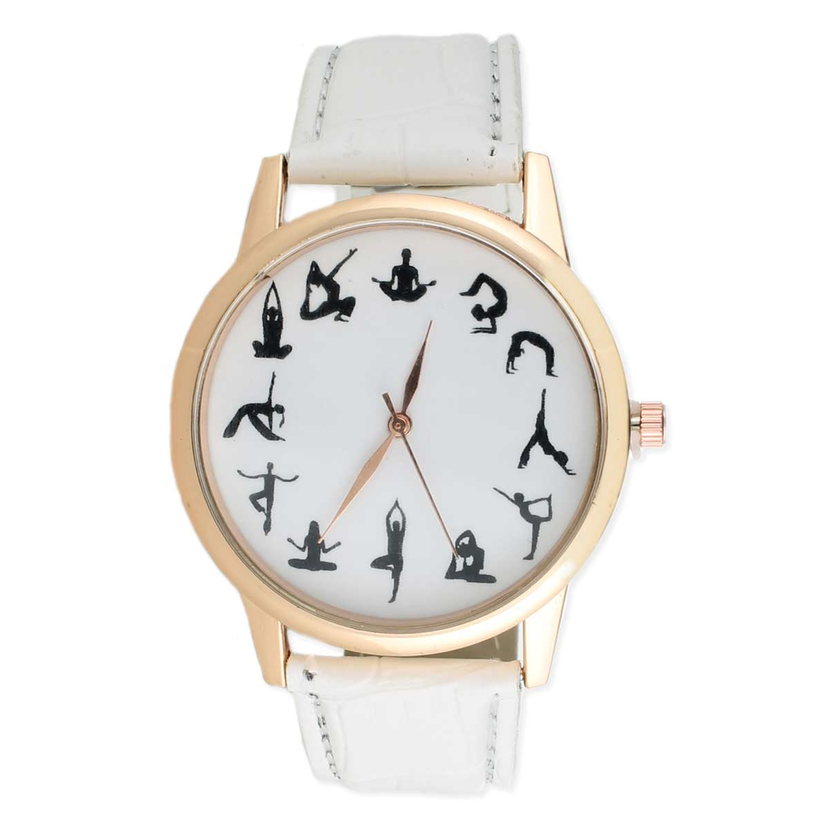 Yoga Poses White Strap Watch