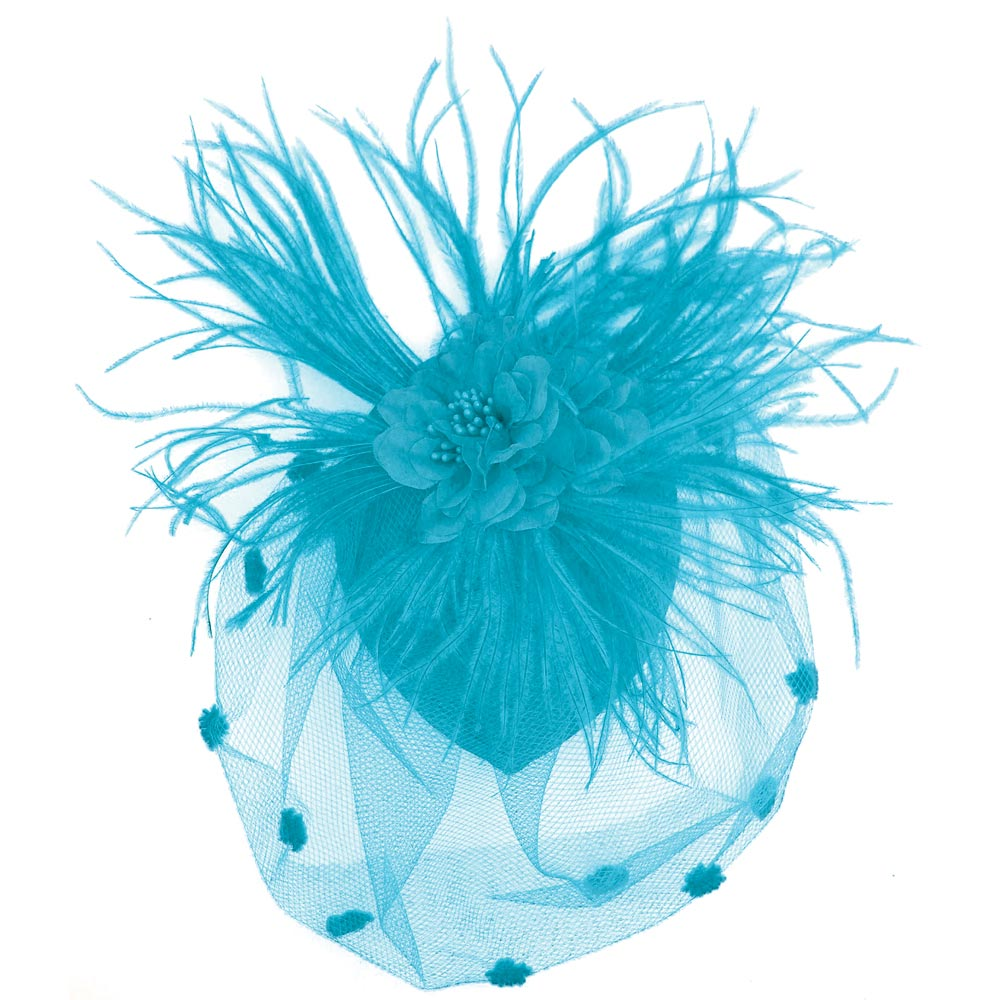 Turquoise Feather   Mesh Fascinator. View Detailed Images 1 6124ae9d8b6