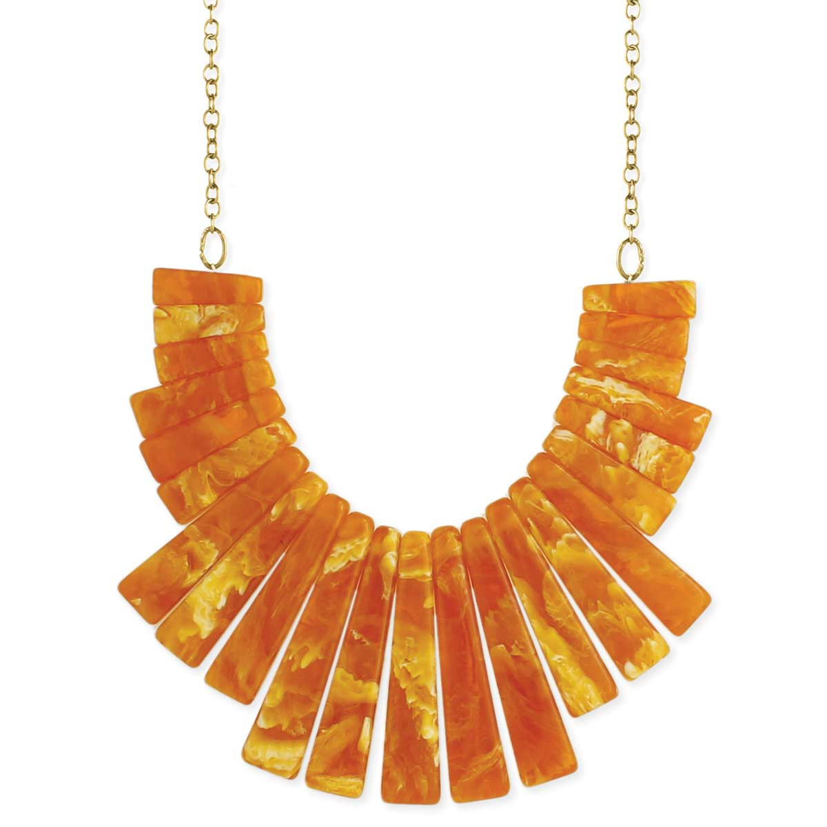 Marble Amber Bars Bib Necklace