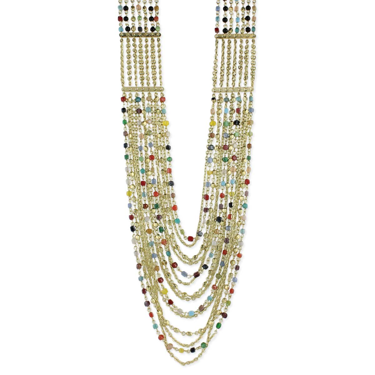 Gold & Multi Color Bead Layer Necklace