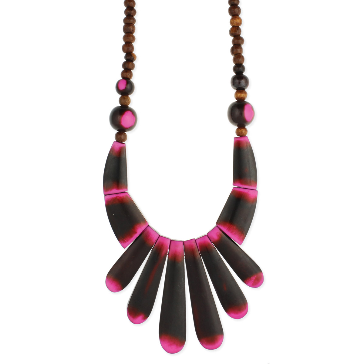 Pink & Brown Bib Resin Necklace