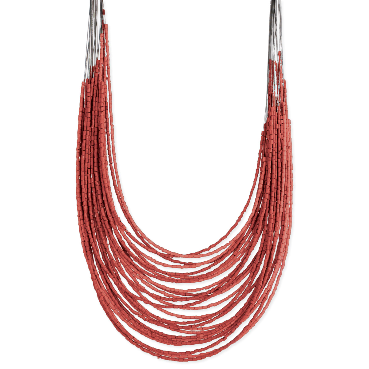 Multi Line Coral Bead Graduating Necklace