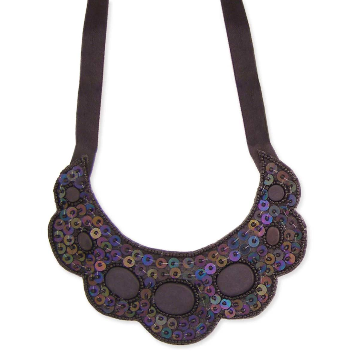 Black Sequin & Agate Bib Necklace
