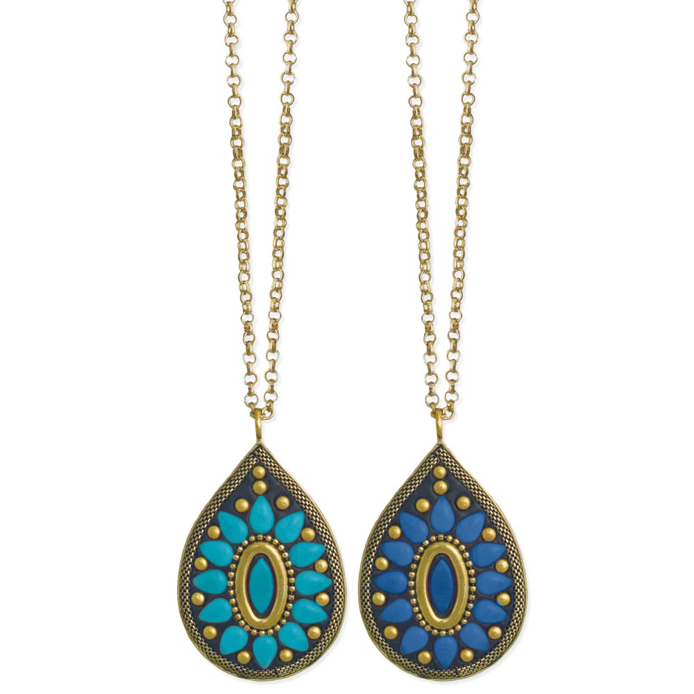 wholesale teardrop jewel medallion necklace zad fashion