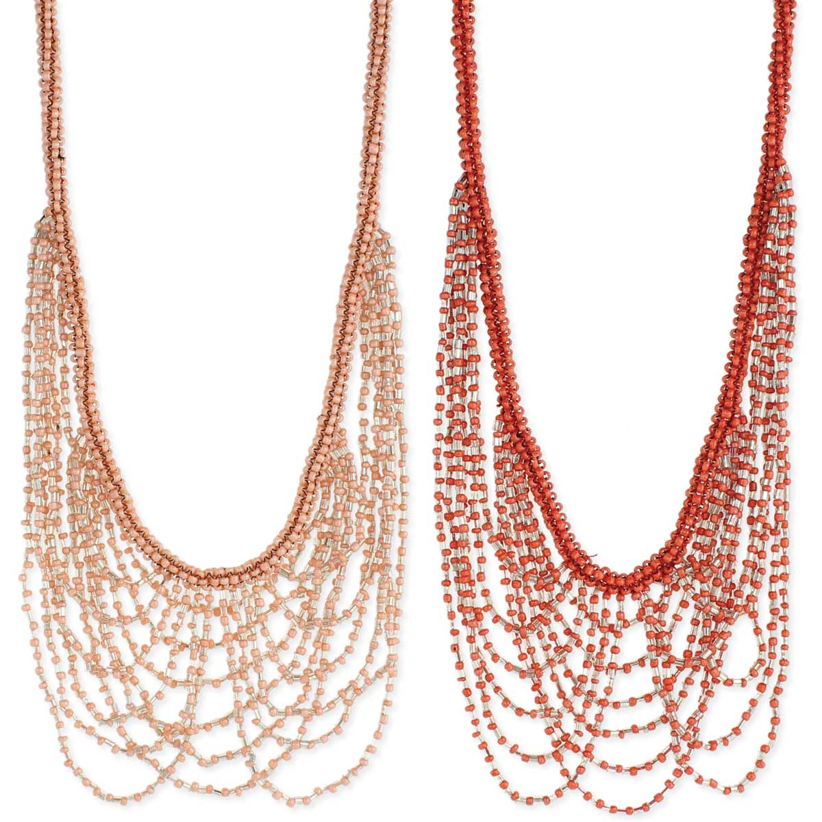 Coral Bead Drape Necklace