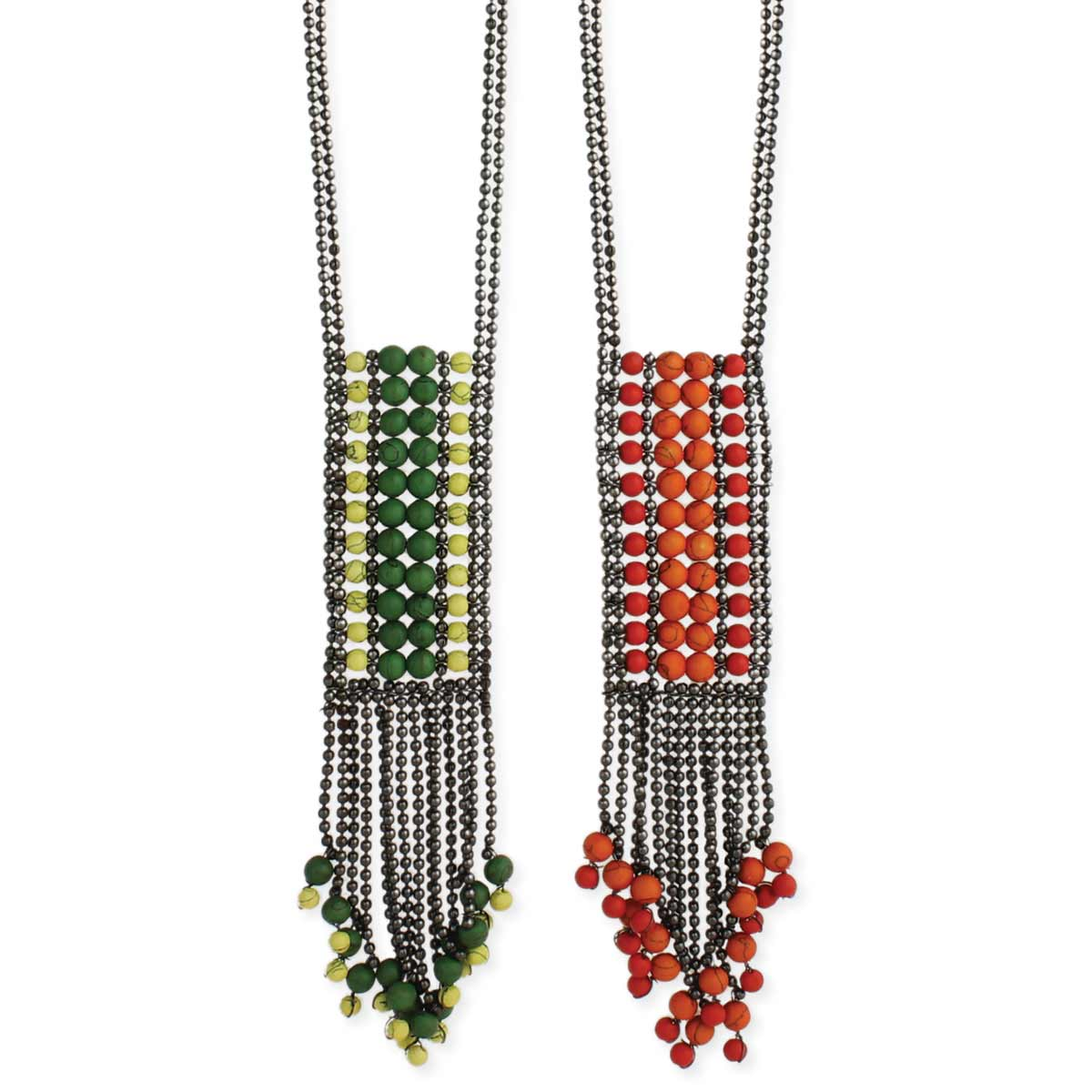 Beaded Fringe Long Necklace