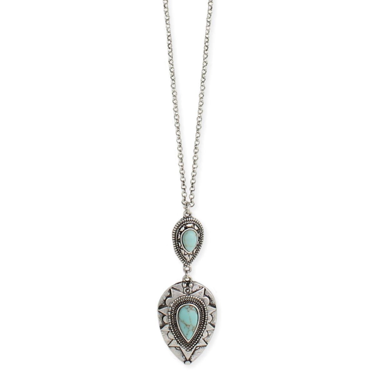 b30c57c29a86 Silver & Turquoise Teardrop Pendant Necklace. View Detailed Images 2 ...