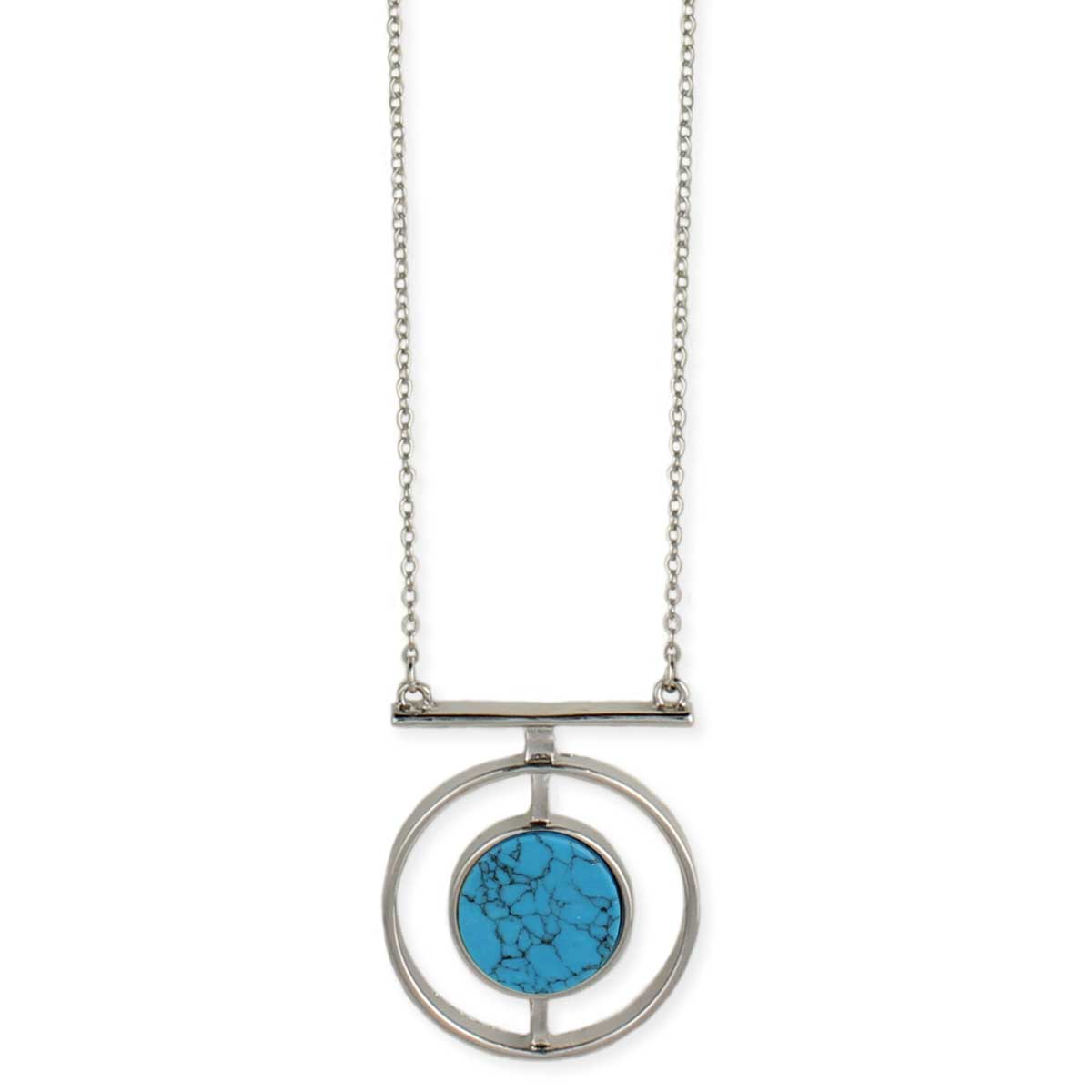 Turquoise & Silver Round Pendant Necklace