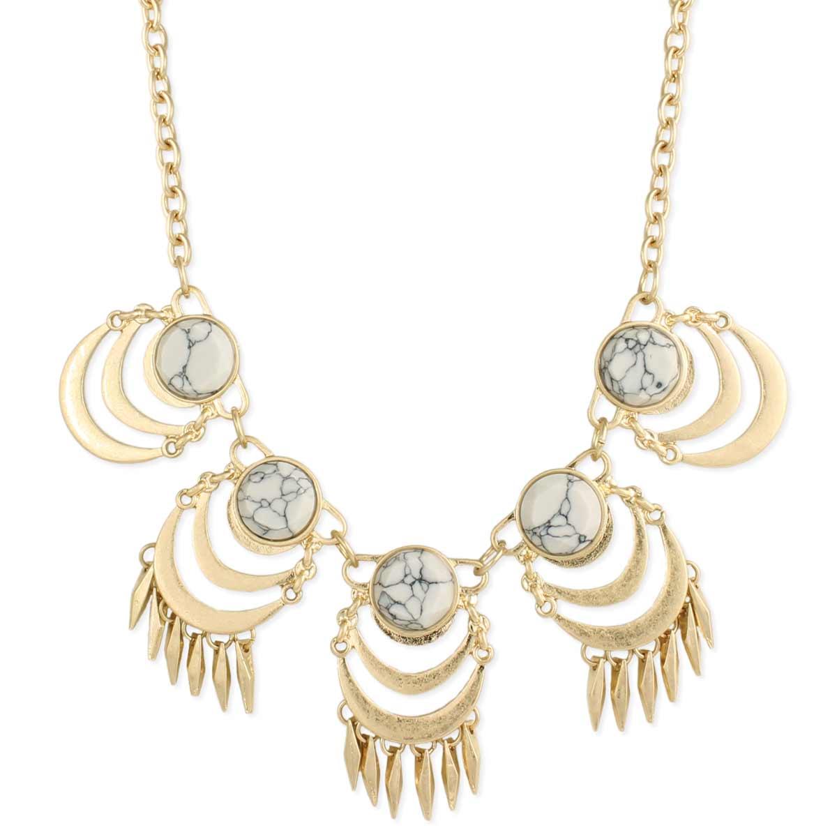 Gold & White Howlite Bib Necklace