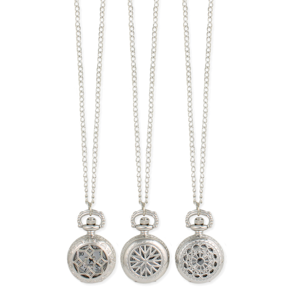 Shiny Silver Cutout Locket Watch Necklace