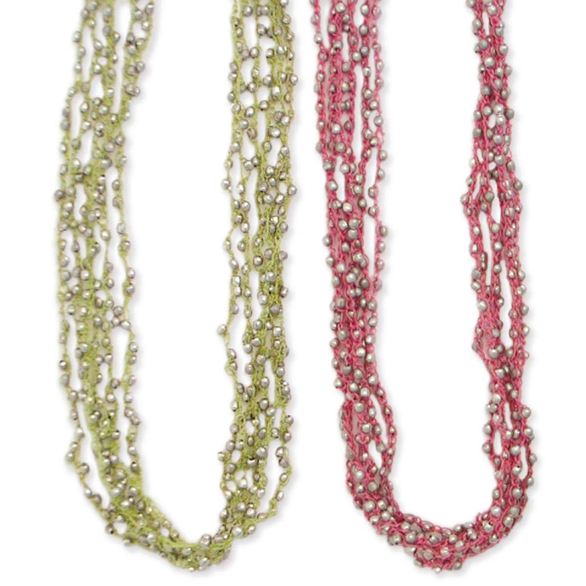 Thread & Silver Bead Necklace