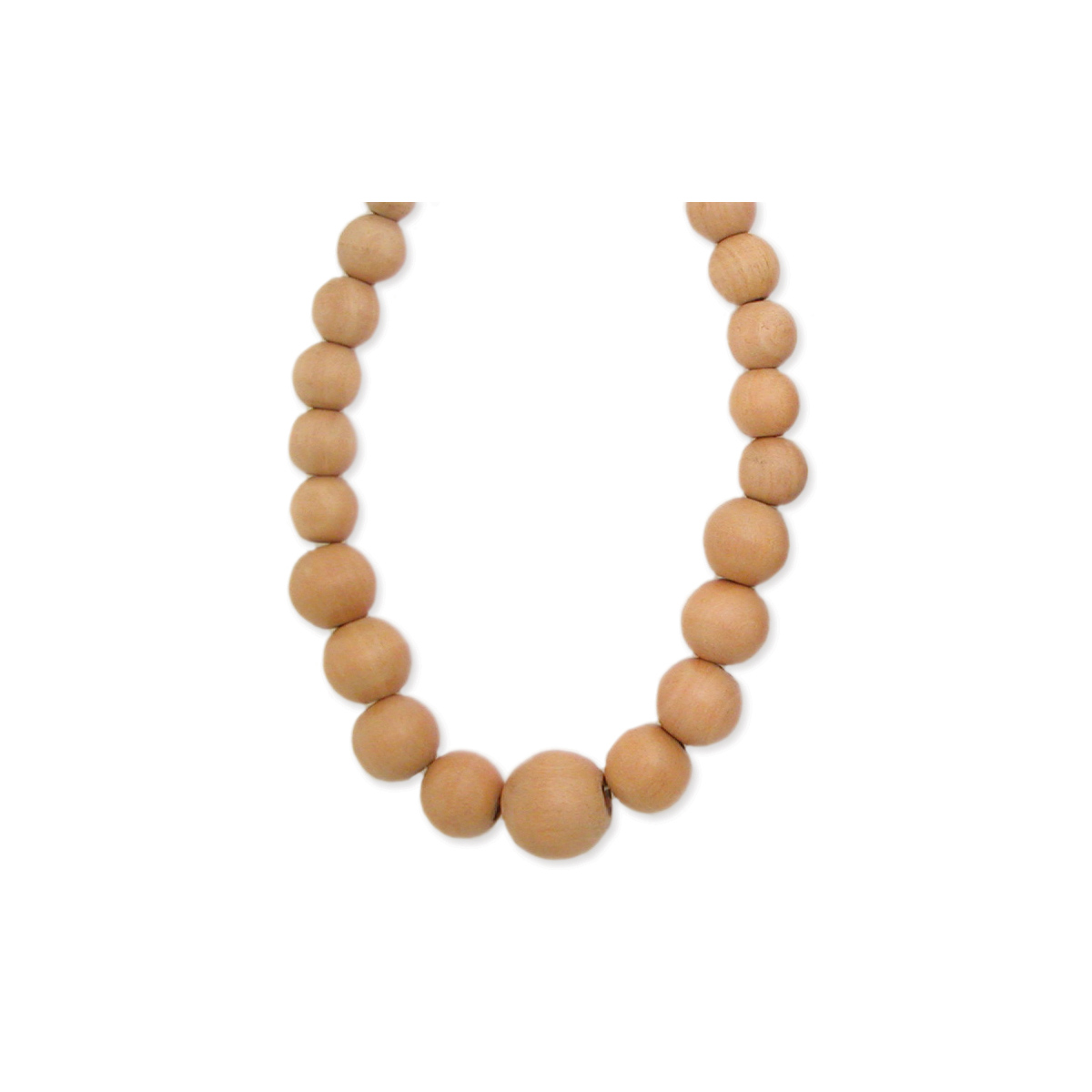 Light Wood Bead Bauble Necklace