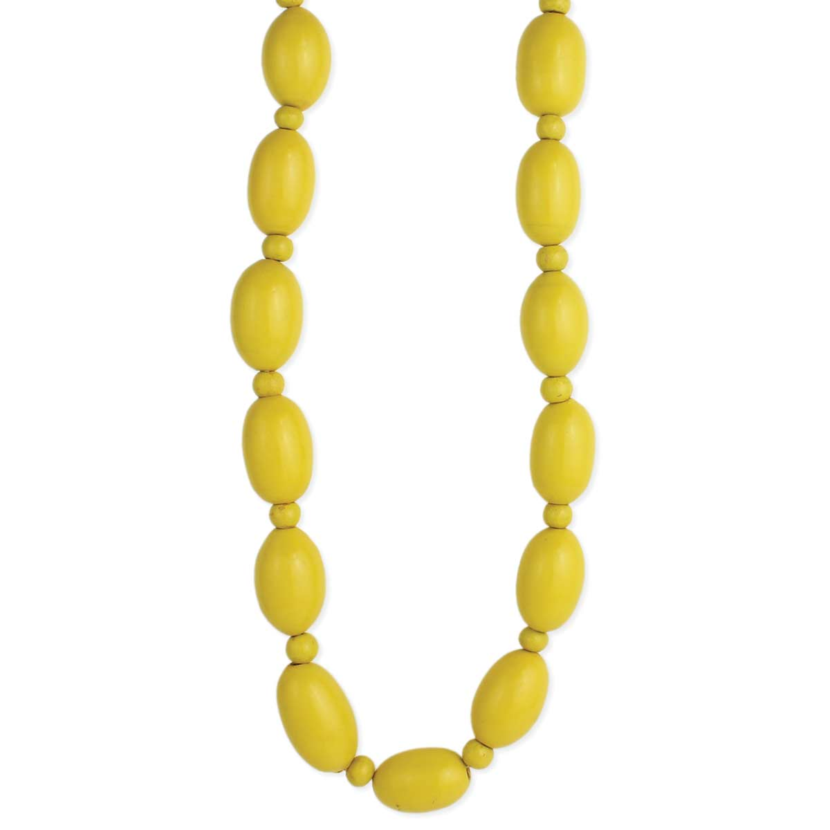 Yellow Painted Wood Bead Long Necklace