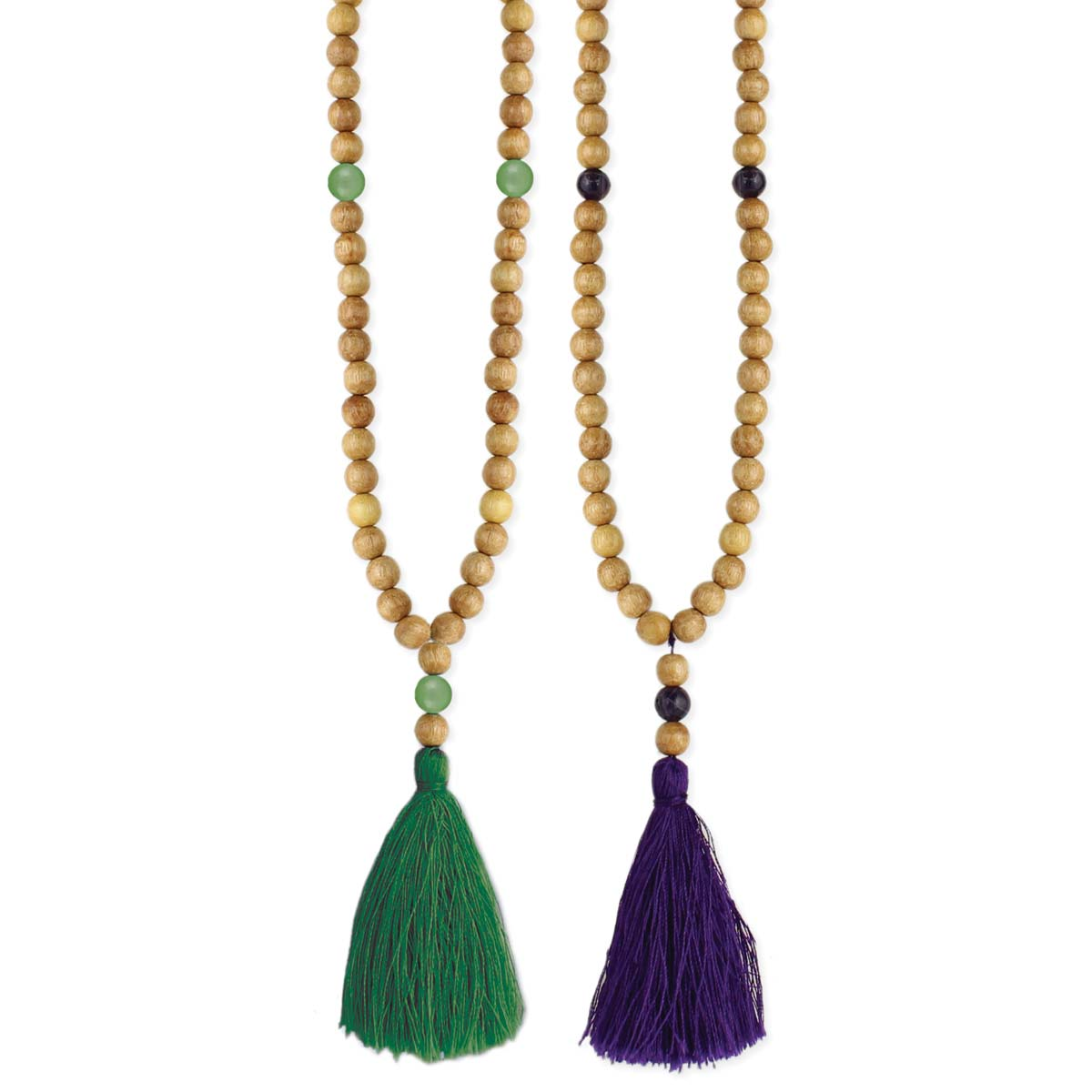 Wood & Agate Bead Thread Tassel Necklace