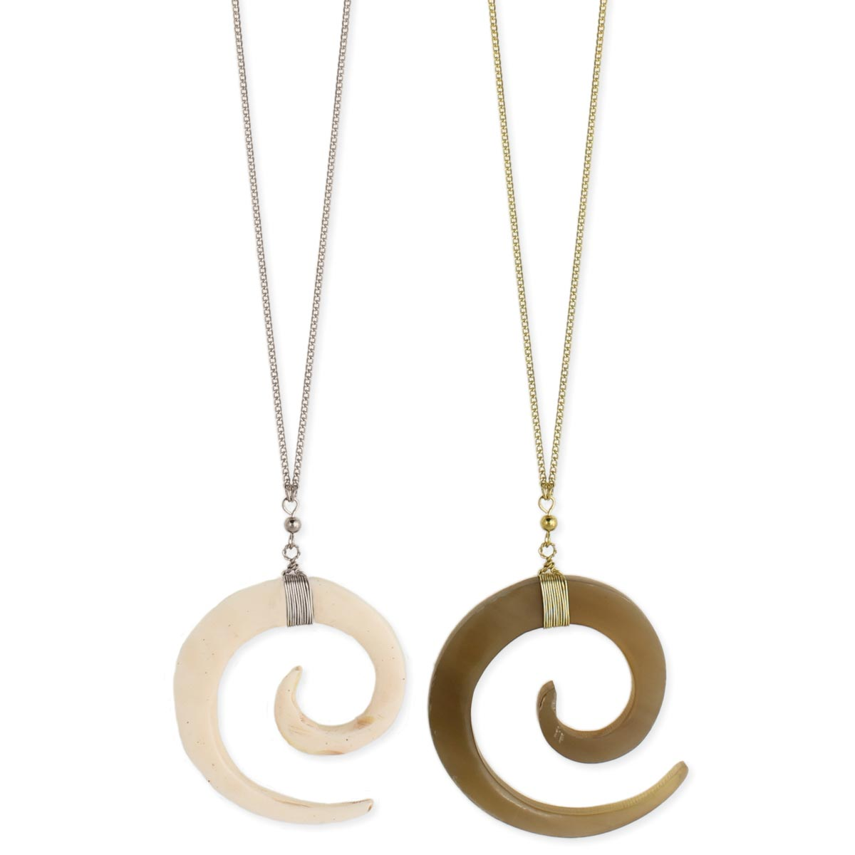 Wholesale horn spiral pendant long gold necklace zad fashion horn spiral pendant long gold necklace view detailed images 2 aloadofball Image collections