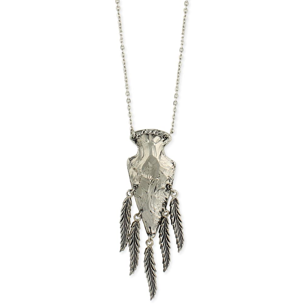 Wholesale silver arrowhead feathers pendant necklace zad fashion silver arrowhead feathers pendant necklace view detailed images 2 mozeypictures Gallery