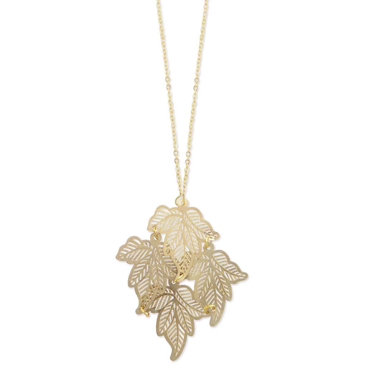 Filigree Gold Leaves Pendant Necklace