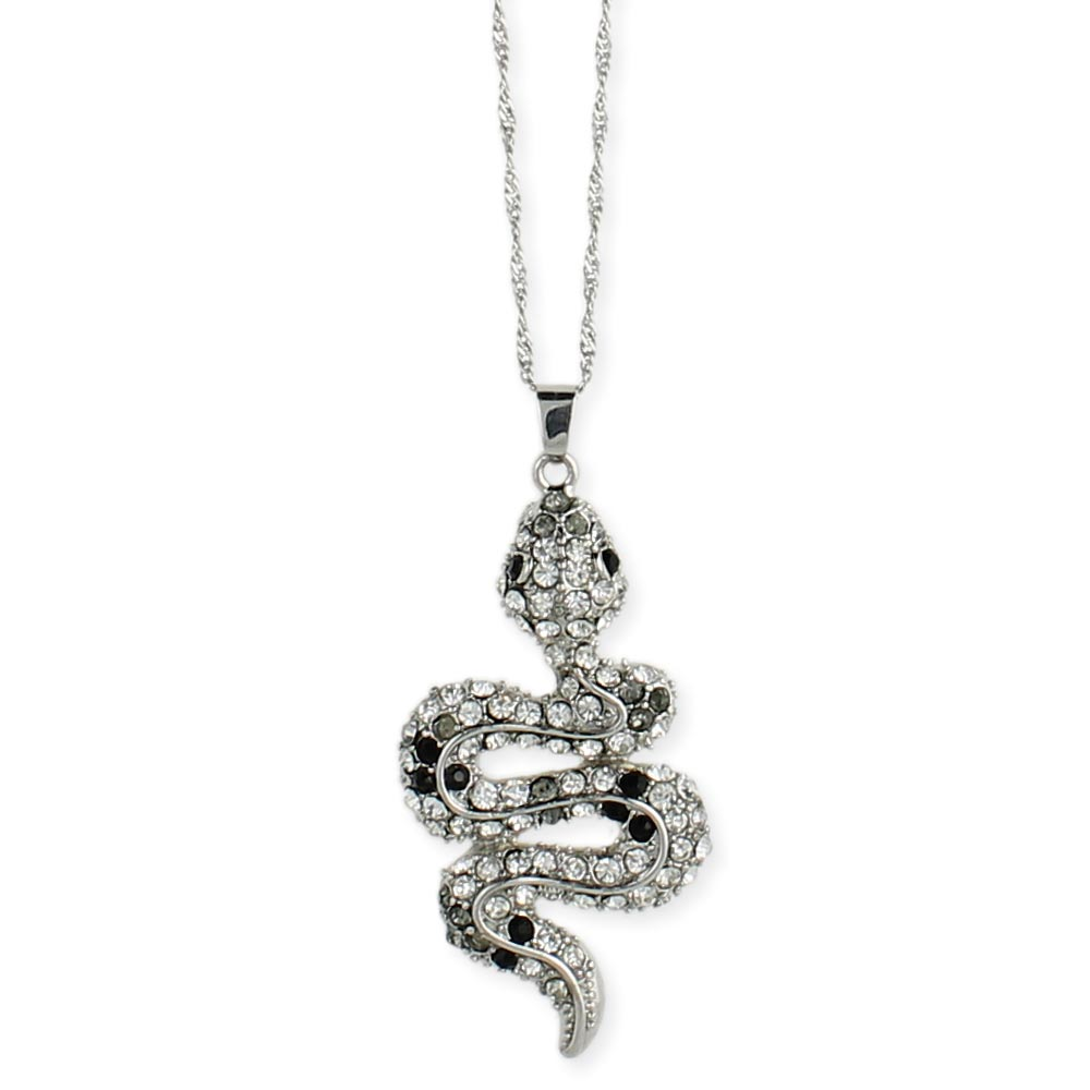 Wholesale crystal snake pendant necklace zad fashion costume crystal snake pendant long necklace view detailed images 2 aloadofball Images