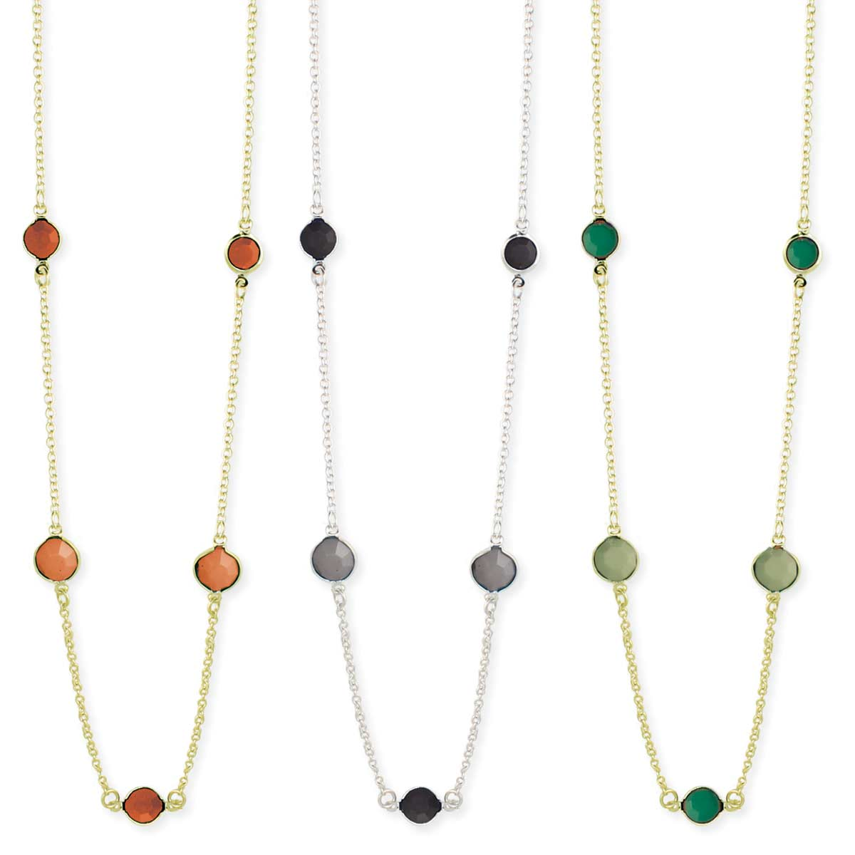 Facet Bead Station Necklace