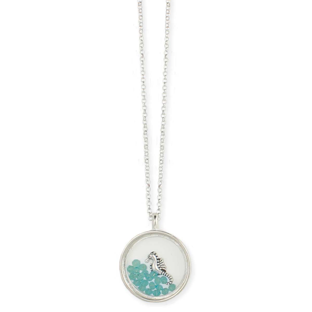 Turquoise Bead & Seahorse Floating Pendant Necklace