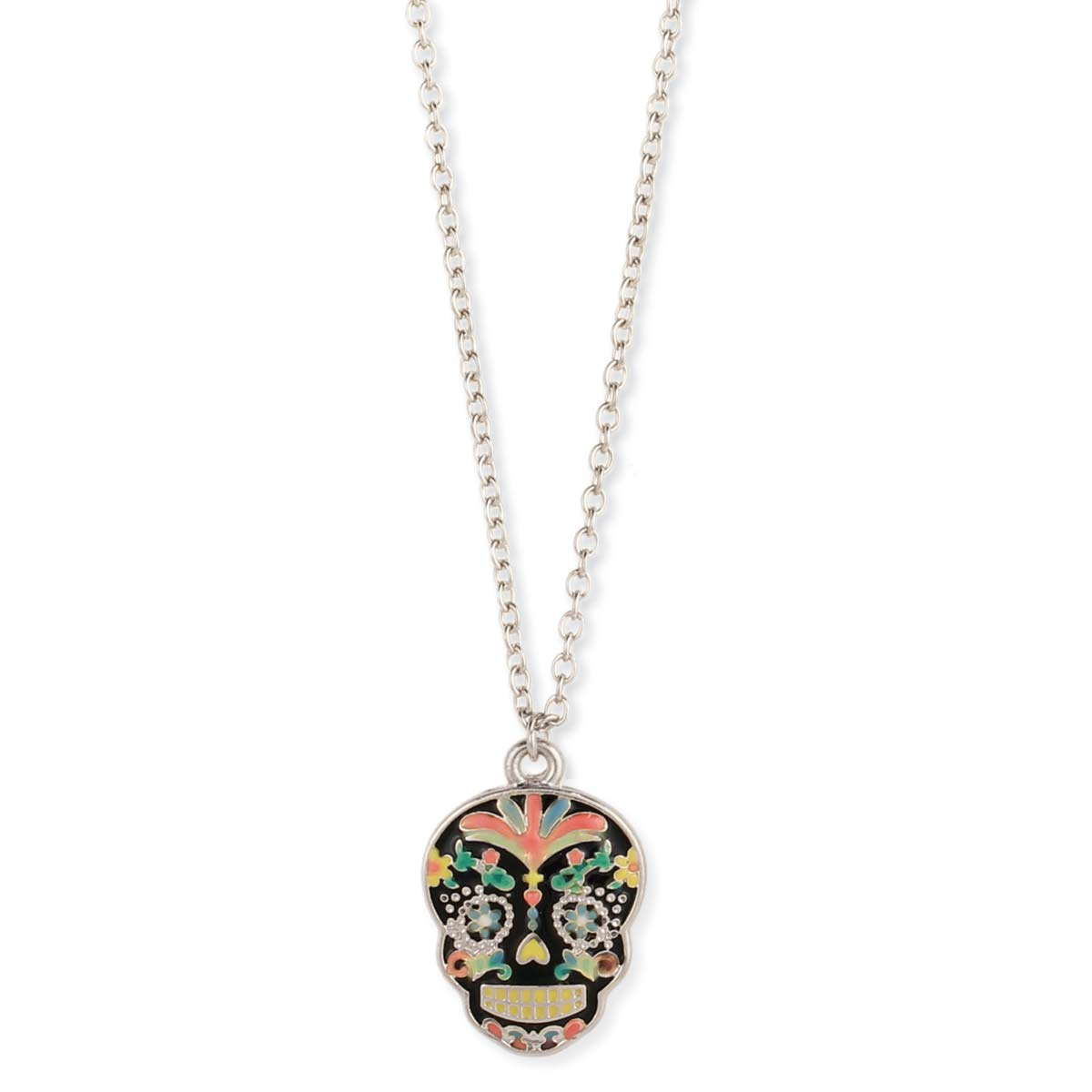 Black Skull Enamel Necklace