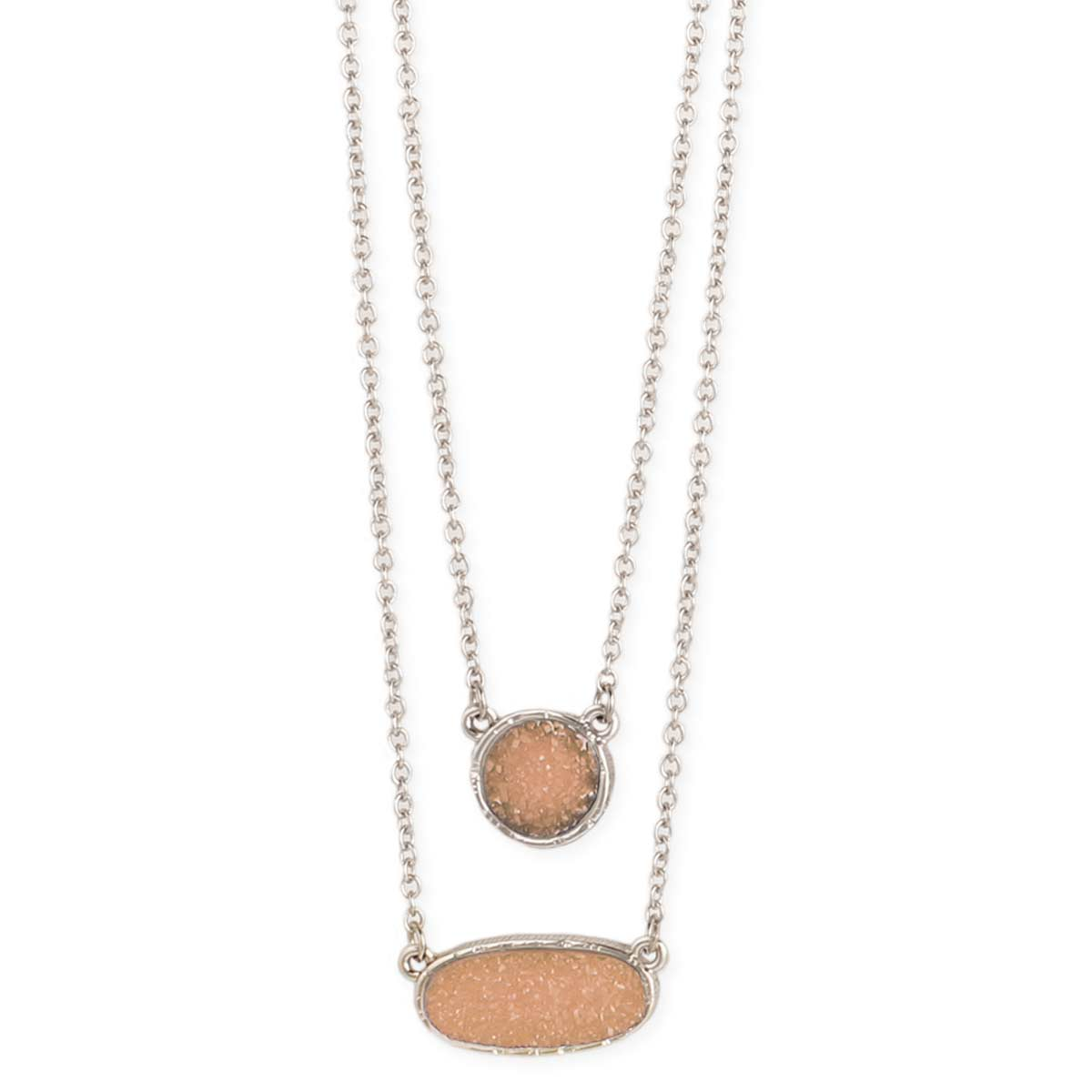 Silver & Peach Druzy Layer Necklace