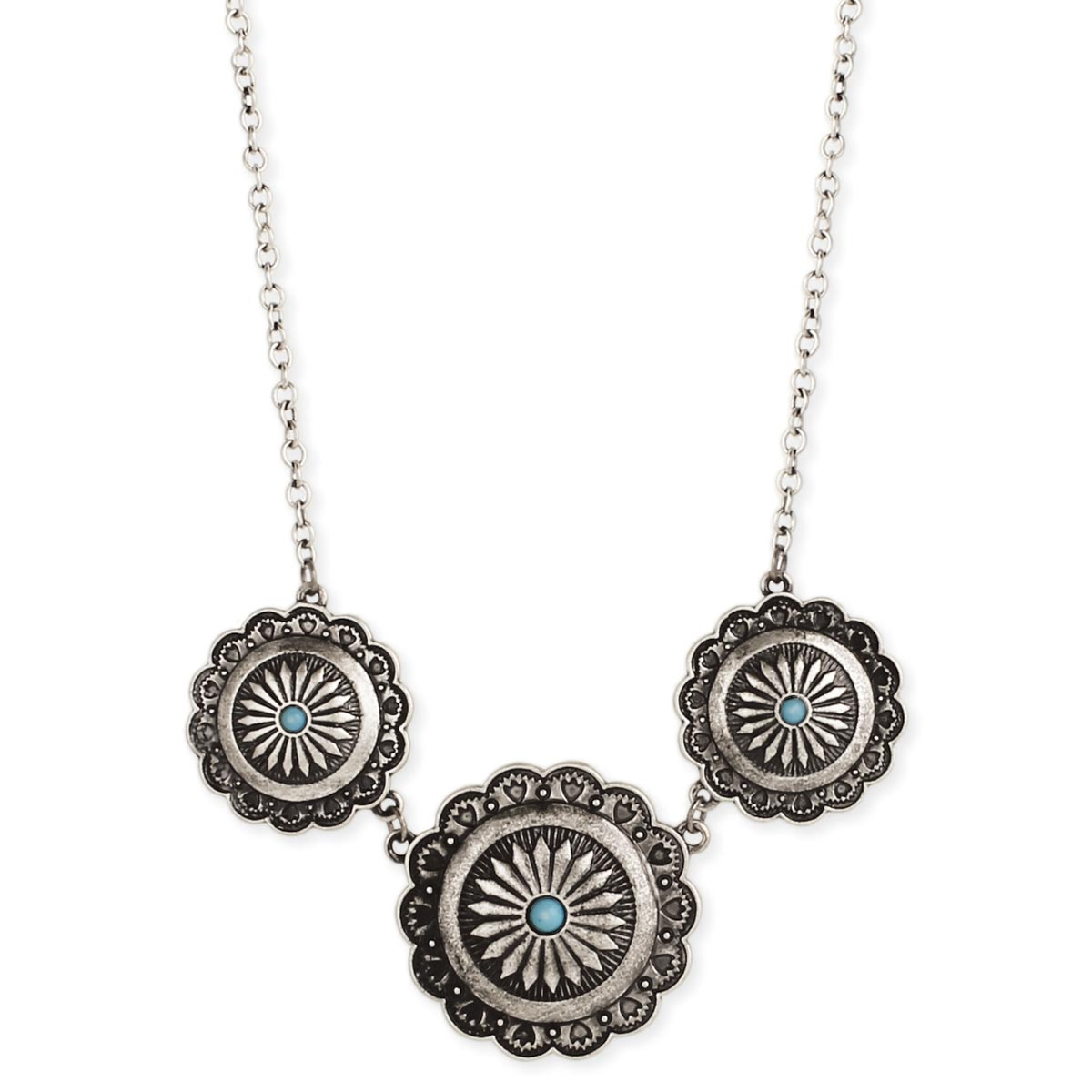 Silver Turquoise Concho Necklace