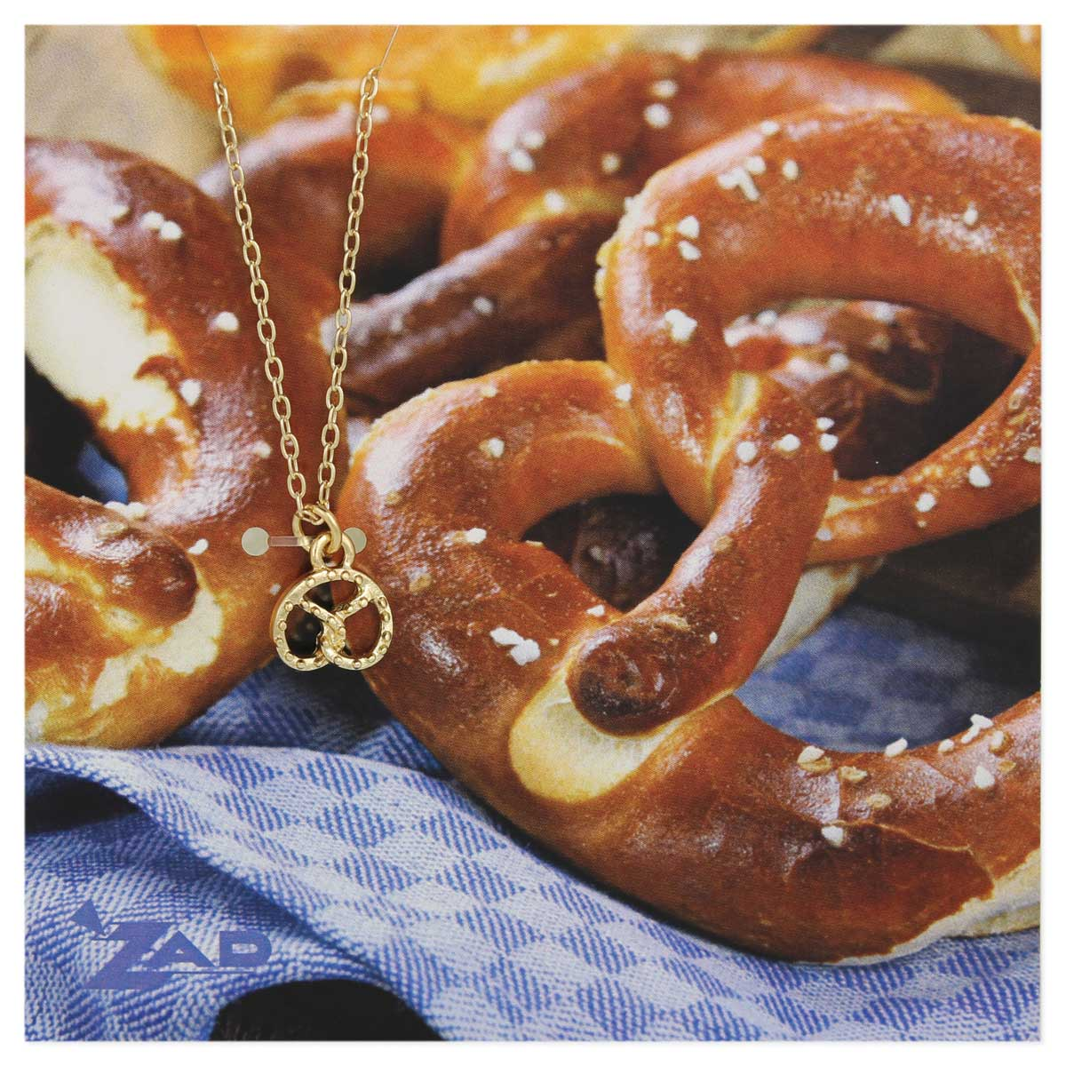 Gold Pretzel Charm Necklace on Picture Card