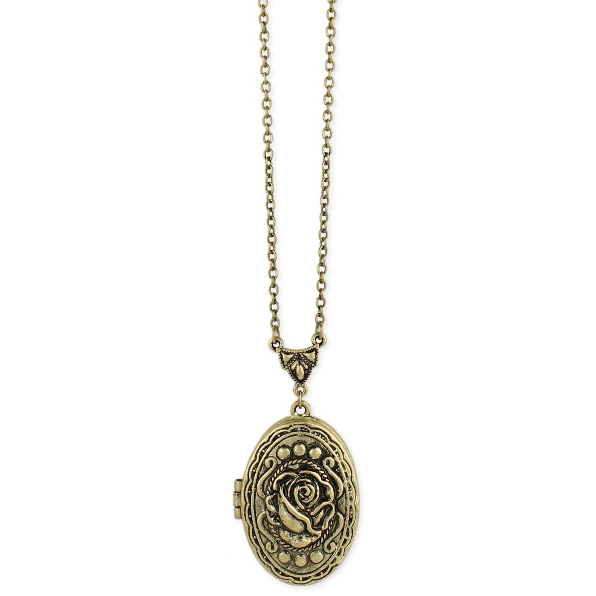 Gold Oval Rose Locket Necklace