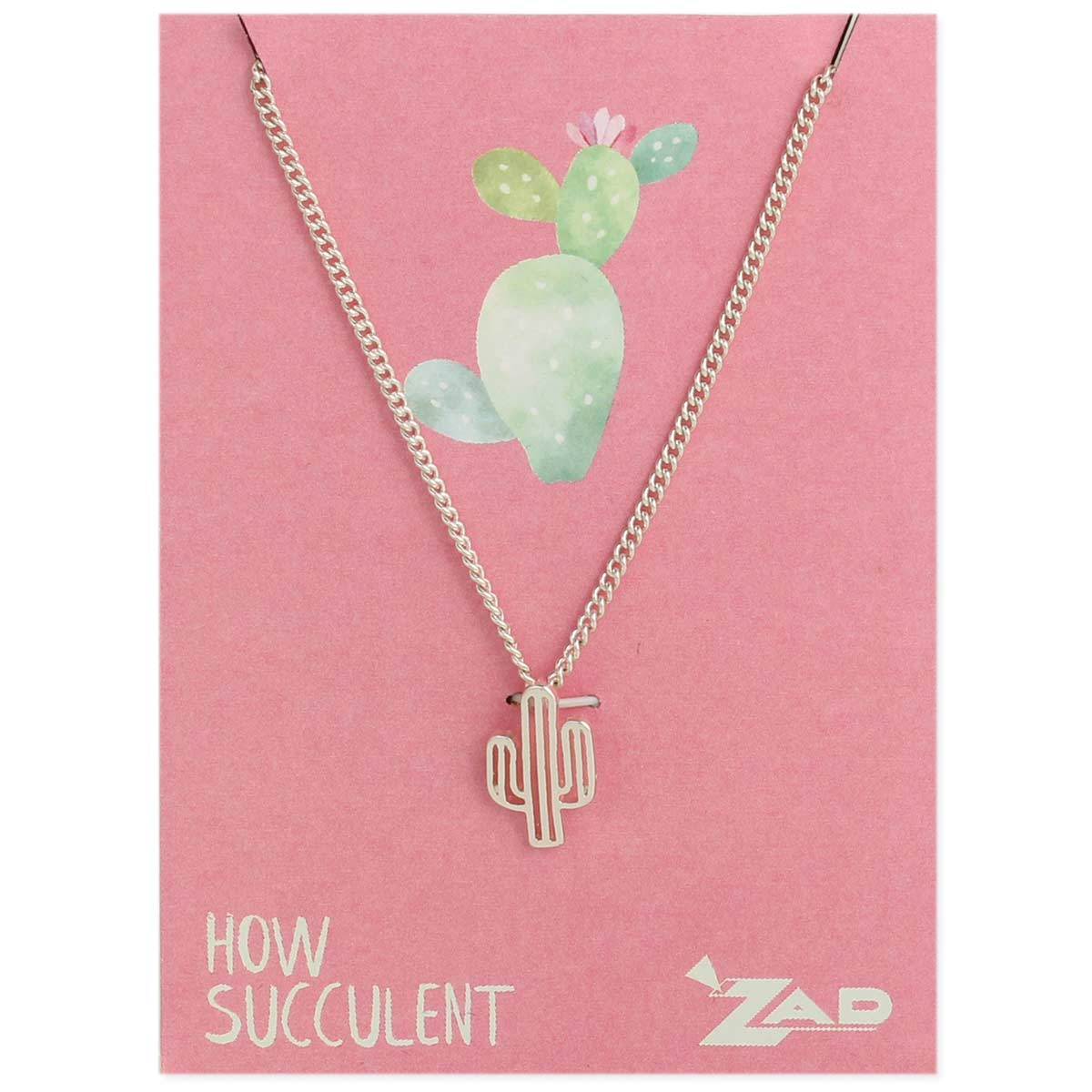 Cutout Cactus Necklace on Pink Card