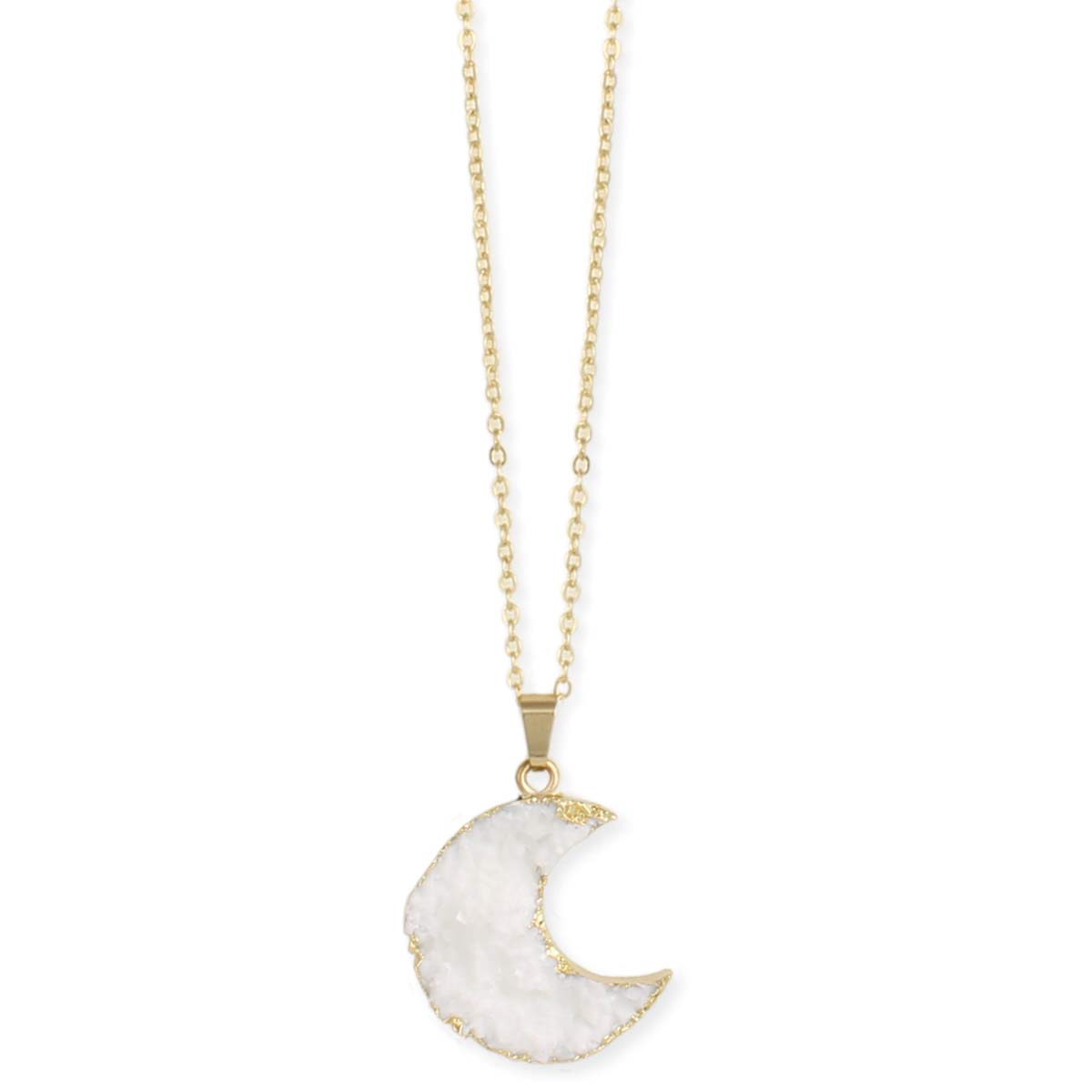 White Druzy Moon Gold Necklace