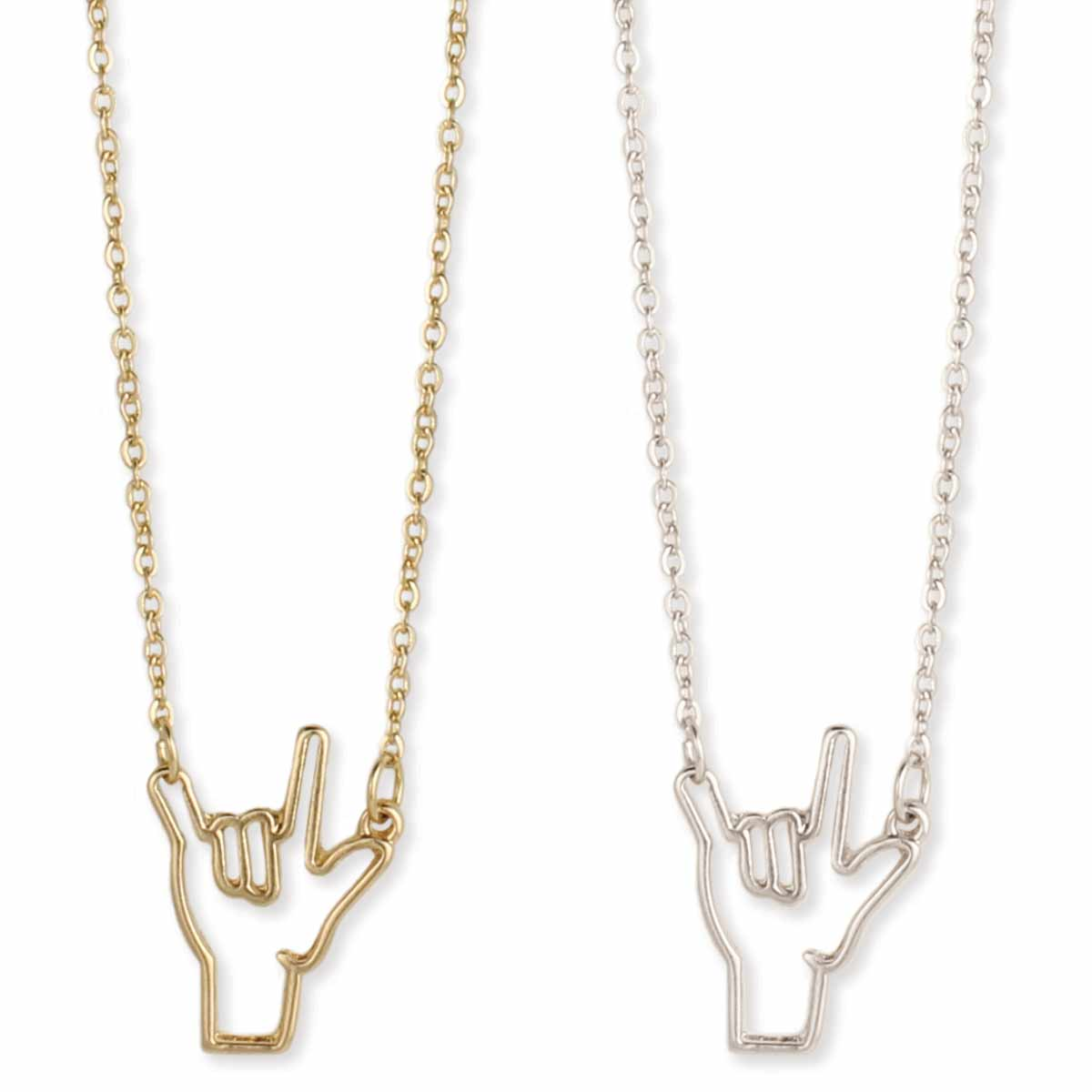 Silver Sign Langurage Love Necklace
